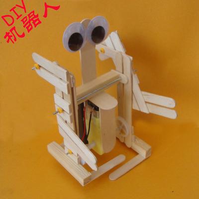 科技小制作 小发明 diy 雪糕棒双足步行机器人 自制 科普拼装玩具