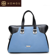 Honggu red Valley counter European fashion business casual genuine leather contrast color handbag hand carry bag 1056