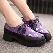 C spring and autumn leisure shoes retro round Brock of England shoes platform heels in students with