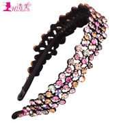 Haomei super soft bright dazzling rhinestone headband-black imports toothed Crystal headband hairpin