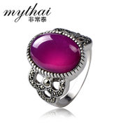 Thai Thai silver retro fashion female Ruby 925 Silver ring finger ring