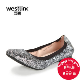 Westlink/West fall 2015 the new Korean version of Sparkle soft shallow swirling round head shoe