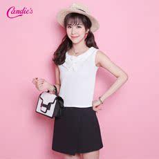 Candie's2016夏新款 舒适百搭纯色无袖短款背心吊带女30062014