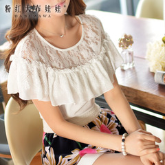 Shirts girls big pink doll summer 2015 new shirt women's lace shawl white t-shirt