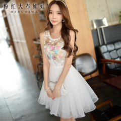 White dress pink doll summer 2015 new ladies vest puff lace summer dress