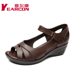 YEARCON/er Kang wedges shoes 2015 summer styles, leather comfort MOM shoes women sandals