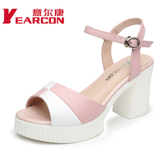 YEARCON/er Kang shoes 2015 summer styles real sweet coarse fish mouth high heels shoes women sandals