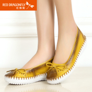 Red Dragonfly leather women's shoes in summer 2015 new genuine leisure perforated breathable flat pumps women's shoes