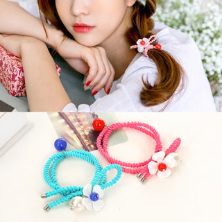 Know NI the Korean version of the beautiful beads pendants playing his first ring of fresh flower hair band elastic hair accessory jewelry
