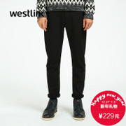 Westlink/West New 2015 winter spell simple slim solid color Pocket pants black men's trousers