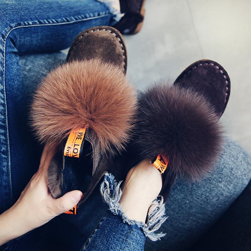 狐狸毛鞋子女冬季2017新款低跟平底毛毛鞋一脚蹬韩版百搭豆豆鞋潮