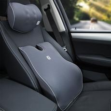 汽车腰靠靠垫护腰 车用靠背垫办公室腰垫腰枕记忆棉头枕腰靠套装