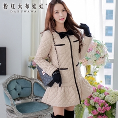 Coat women pink doll 2015 women's long Quilted Jacket in winter new Korean version placed cotton