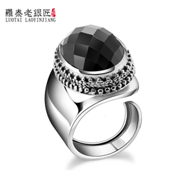 Vintage opening Thai silver ring 925 Silver jewelry men and Korean fashion black Onyx rings women wave ring