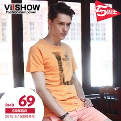 Men's viishow men's short sleeve letters short sleeve t-shirt casual brand tide t solid colors Europe wind