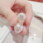Mail size before and after two-sided faux Pearl Stud Earrings new zircon temperament Stud exaggerated Korea women