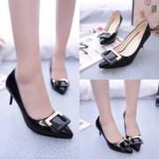 Spring 2015 Europe and new side buckle shallow high heel shoes stiletto leather pointy sexy women's shoes