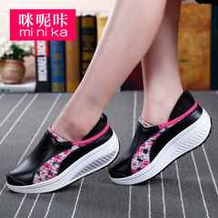 MI Ka shook shoes women''s new Korean wave platform height increasing shoes wedges shoes travel thick-soled casual shoes