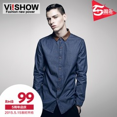 VIISHOW2014 new spliced long sleeve shirt slim fit shirts men's contrast color denim shirt