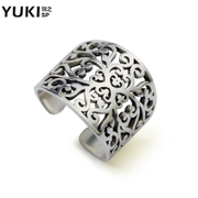 YUKI men''s exaggerated Thai silver finger ring fashion 925 Silver ring vintage silver ring empty child health General
