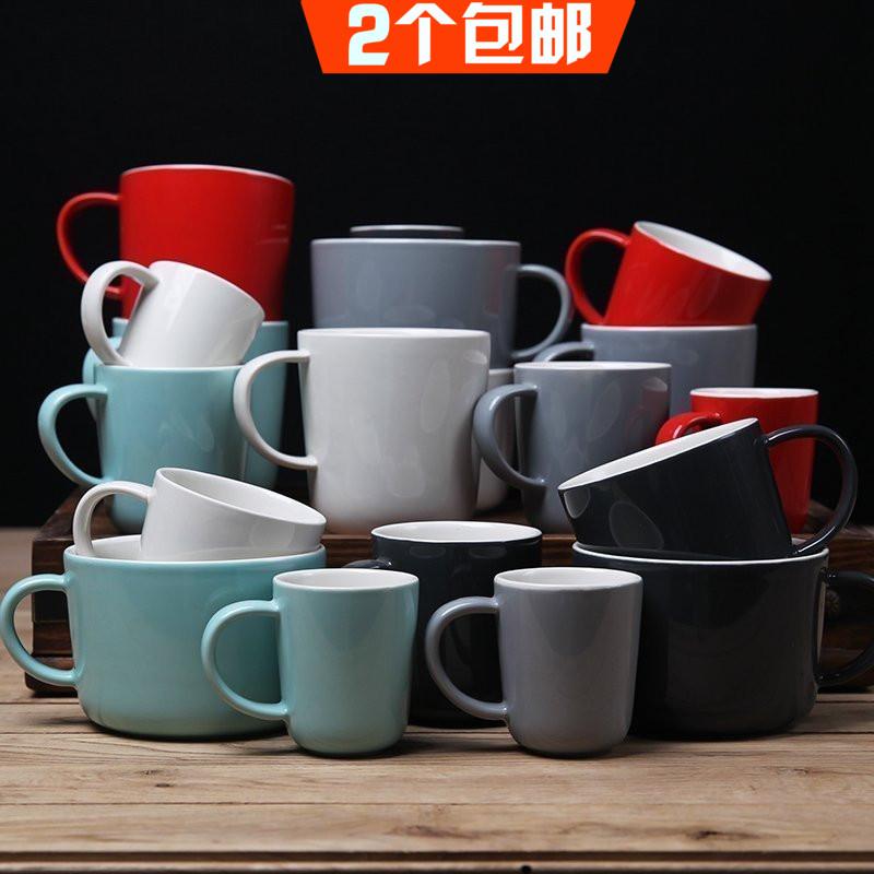 简约日式釉下彩纯色陶瓷水杯 马克杯茶杯 喝水杯子 咖啡杯情侣杯