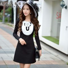 A-dress big pink doll spell autumn ladies ' black and white ruffled long sleeve slim dress