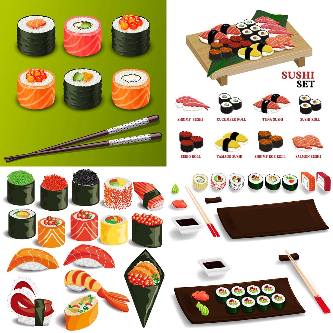 9个EPS矢量图日本美食料理寿司美食插画设计素材 2016020459