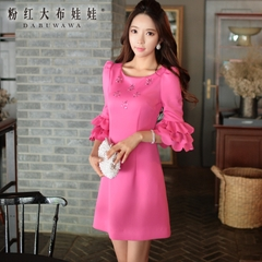 Autumn dress big pink doll 2015 Korean ladies slim slimming sleeves even in a dress
