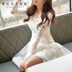 Lace dress big pink doll 2015 autumn new slim ladies white and put on long sleeves dress