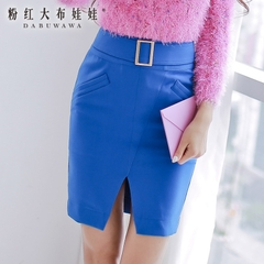 Dress big pink dolls in summer 2015 new temperament Joker-hip skirt Royal Blue slim skirt