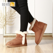 New ladies shoe shoebox2015 winter snow boots flat round head thick keep warm short boot women