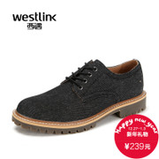 Westlink/West fall 2015 comfortable round men's laced shoes denim shoes