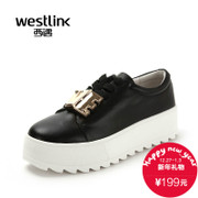Westlink West fall 2015 new Korean version of the shoe lacing platform skid thick-soled casual shoes
