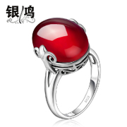 Silver hung vintage Thai silver ring 925 Silver jewelry red garnet Korean ladies red corundum the index finger ring