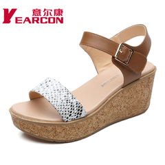 YEARCON/er Kang shoes new 2015 summer leather commuter thick-soled shoes printed sequins women's sandals