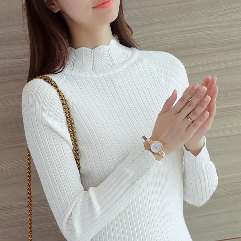 長袖套頭毛衣女秋鼕新款韓版打底短款針織衫半高領修身顯瘦打底衫