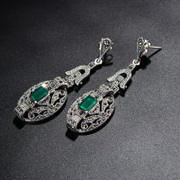Very Thai retro process natural green agate earrings 925 Silver original Thai female Europe and white fungus around wallets accessories