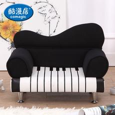 酷漫居简约休闲儿童小沙发 单人钢琴创意沙发椅子 布艺懒人小沙发