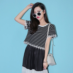 Spring/summer QUEENZZ/2015 t-classic Pinstripe lace Korean ladies jacket short sleeve t-shirt boom 869