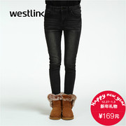 Westlink/West New 2015 winter recreation Joker white slim ladies feet pencil pants jeans