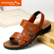 Red Dragonfly leather men Sandals 2015 summer styles authentic Korean fashion comfortable non-slip shoes men's shoes
