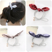 Know NI children Pearlescent leather rabbit ear stereo rings Korean jewelry string band girls head rope
