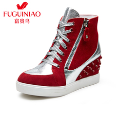 Fuguiniao shoes with genuine high women's shoes high top sneakers in dermal riveting fashion shoes