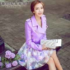 Ladies jacket pink dolls in the autumn 2015 autumn new Korean wave suit slim female short coat