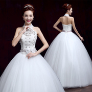 Bride wedding dress spring/summer fashion new 2015 Korean yards hung snap neck wedding dress was thin slim lace