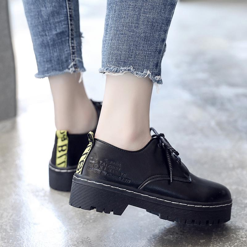 英伦风女鞋复古皮鞋学院风浅口低帮圆大头小皮鞋马丁鞋系带森女鞋