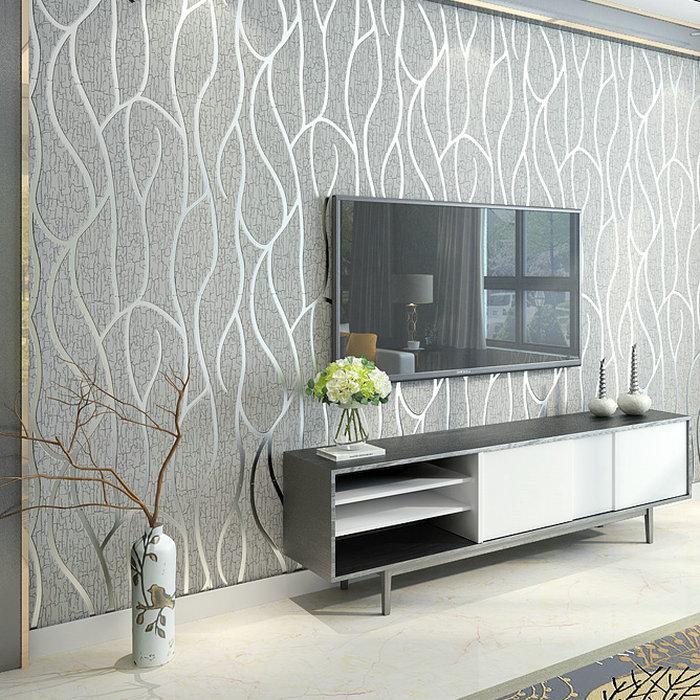 逸馨简约现代电视背景墙纸立体 卧室客厅灰条纹3D影视墙壁纸