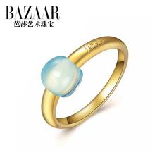 芭莎珠宝S925银水晶戒指女饰品欧美彩宝戒指镀金时尚配饰潮指环