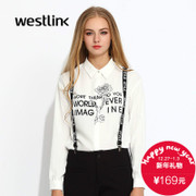 Westlink/West fall 2015 the new black and white letters printed long sleeve straight white chiffon dress shirt