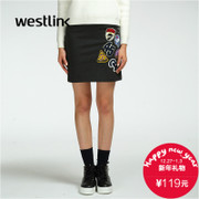 Westlink/West 2015 winter new coat of arms of a pencil skirt bust labeling knit dress women's clothing